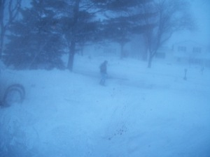 Rob shoveling the driveway, poor thing!